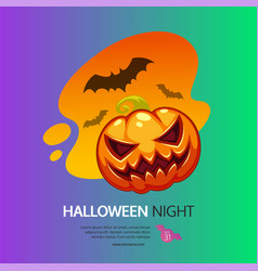 halloween night greeting card with pumpkin vector image