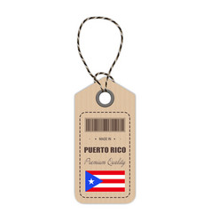 Hang tag made in puerto rico with flag icon vector