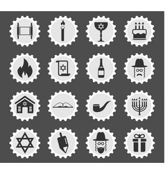 Hanukkah simply icons vector