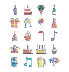 happy birthday decoration event festive vector image
