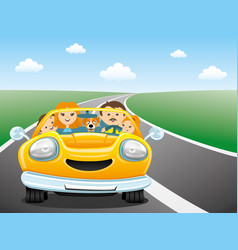 Happy family in the yellow car vector