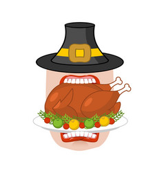happy thanksgiving eat cooked turkey open mouth vector image