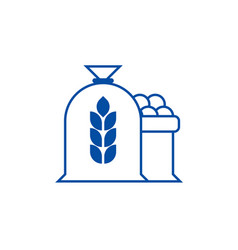 harvest wheat bag line icon concept harvest wheat vector image
