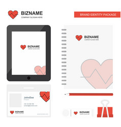 heart beat business logo tab app diary pvc vector image