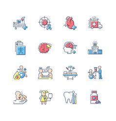 Hospital rgb color icons set vector