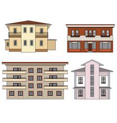 House front view set city building facade vector