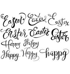 inscriptions happy easter set vector image