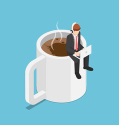 Isometric business sitting on coffee cup and vector