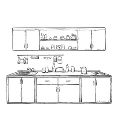 Kitchen cupboard kitchen shelves hand drawn vector image
