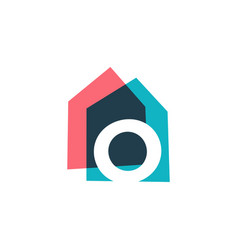 Letter o house home overlapping color logo icon vector