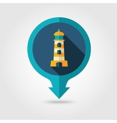 Lighthouse pin map flat icon Summer Marine vector
