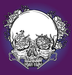 line art with scary skull and flowers vector image