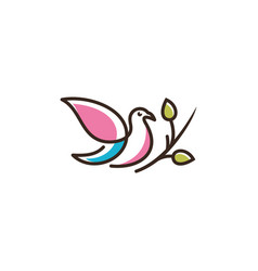 logo of leaves birds icon line art picture vector image