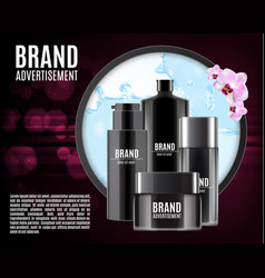 luxury cosmetic ads design with orchid flower vector image