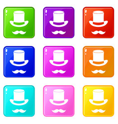 Magic black hat and mustache set 9 vector