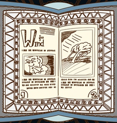 Magic book with the spell of wind vector