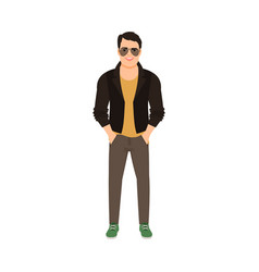 man in leather jacket vector image