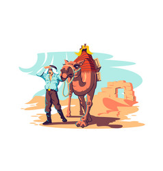 man with camel explore desert vector image