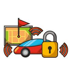 map navigation mobile security signal autonomous vector image