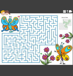 Maze educational game with cartoon butterflies vector
