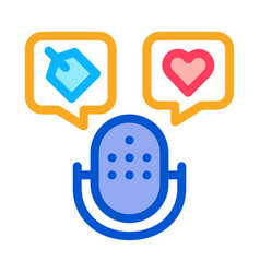microphone label icon outline vector image