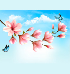 Nature spring background with beautiful magnolia vector