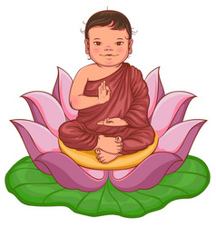 newborn buddha boy sits in lotus flower vector image