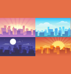 night and daytime cityscape vector image