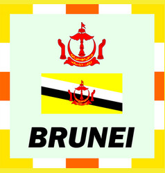 Official ensigns flag and coat of arm of brunei vector