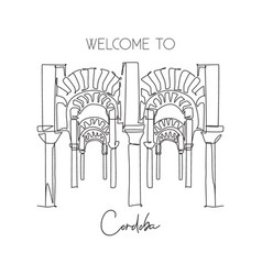 One continuous line drawing cordoba mosque vector