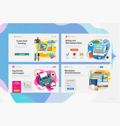 one page website kit for time for web developing vector image