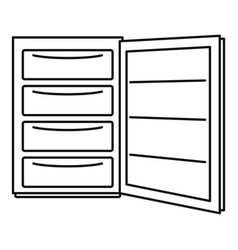 Open refrigerator icon outline style vector