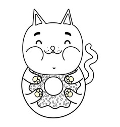 Outline kawaii delicious funny cat donut vector