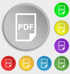 PDF Icon sign Symbol on eight flat buttons vector
