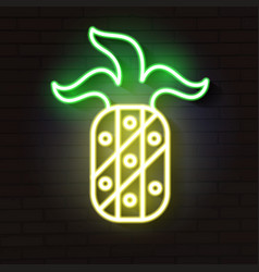 pineapple light glowing neon sign vector image