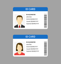 plastic id cards personal registration form card vector image