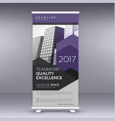Purple arrow style modern roll up banner template vector
