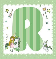 R alphabet letter for kids vector