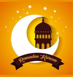 Ramadan kareem card with temple and moon vector