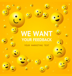 realistic detailed 3d we want feedback concept ad vector image