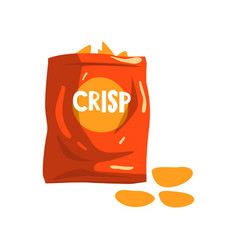 Red bag package of crisp potato chips snacks vector