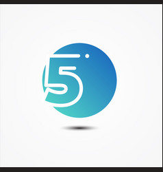 round symbol number 5 design minimalist vector image