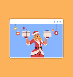 santa woman holding gift box girl having fun happy vector image
