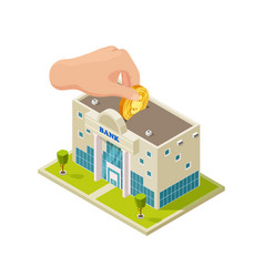 saving money in bank isometric concept vector image