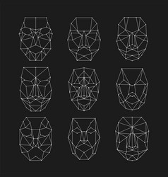 scanning grid identification of person set of vector image
