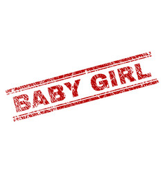 scratched textured baby girl stamp seal vector image