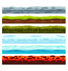 seamless land layers dirt ground landscape game vector image