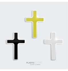 set crosses in a plastic style vector image