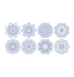 set decorative circle patterns ethnic flower vector image