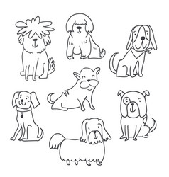 set of cute handdrawn dogs isolated vector image
